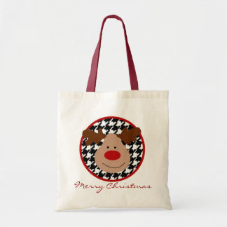 Houndstooth  Merry Christmas Tote Bag