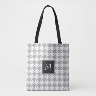 Houndstooth Monogram Choose Your Color Tote Bag