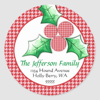 Houndstooth 'N Holly Holiday Cards Classic Round Sticker