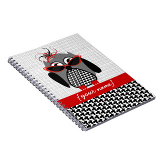Houndstooth Owl Personalized Notebook