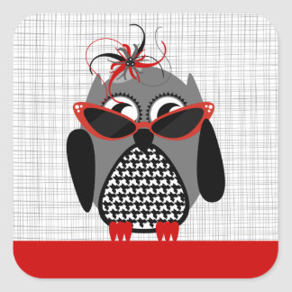 Houndstooth Owl With Red Sunglasses & Hat Sticker