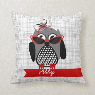 Houndstooth Owl With Sunglasses Pillow