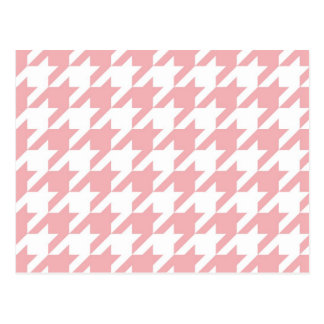Houndstooth pastel pink pattern postcard