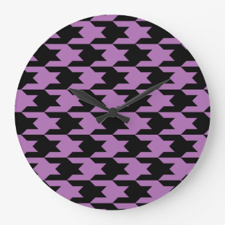 Houndstooth Pattern 1 Radiant Orchid Clocks
