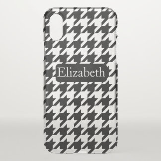 Houndstooth Pattern and Name iPhone X Case