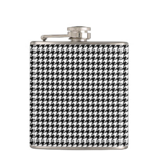 Houndstooth pattern black and white flasks