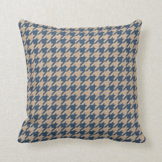 Houndstooth Pattern Denim Blue and Tan Throw Pillow