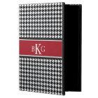 Houndstooth Pattern & Monogram | Black White Red iPad Air Case