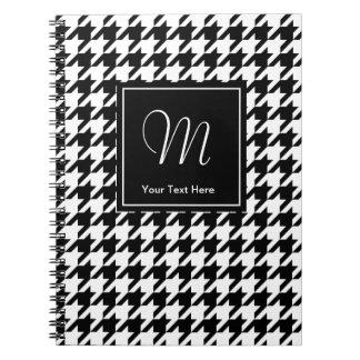 Houndstooth pattern notebook with custom monogram