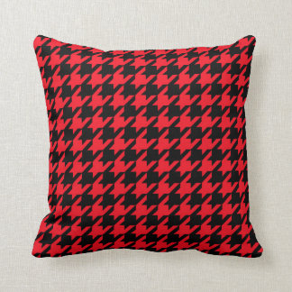 HOUNDSTOOTH PATTERN PILLOW, Red & Black Throw Pillow