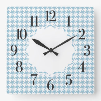 Houndstooth Patterned Square Wall Clock