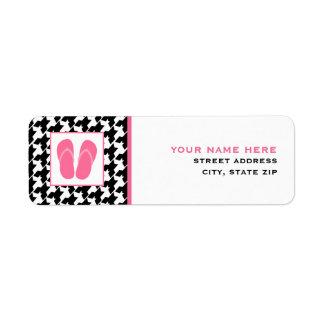 Houndstooth & Pink Flip Flops Return Address Label