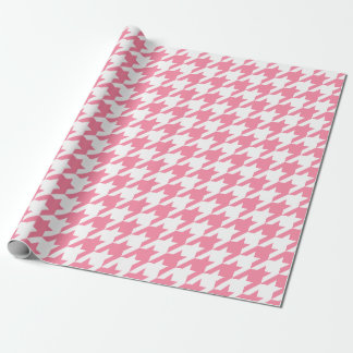 Houndstooth Preppy Pink and White Pattern