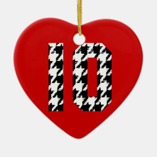 Houndstooth Print Number 10 Ceramic Heart Ornament