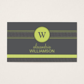 Houndstooth Ribbon Business Cards (grey/lime)