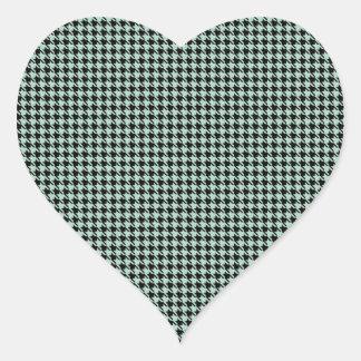 Houndstooth Seafoam and Black Heart Sticker