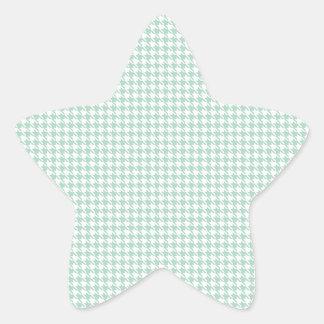 Houndstooth Seafoam and White Star Sticker