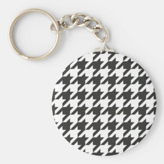 Houndstooth seamless grey, black and white pattern keychain