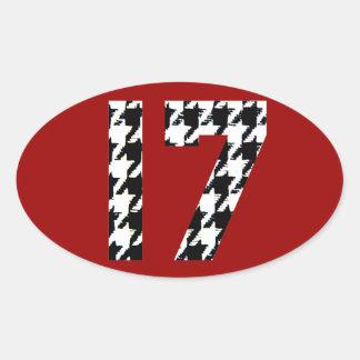 Houndstooth Seventeen Oval Sticker