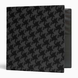 Houndstooth Style Black on Black Textured Pattern 3 Ring Binders