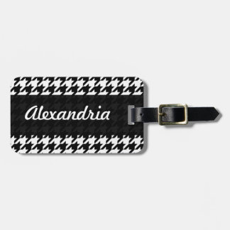 Houndstooth White Black Decorative Art Pattern Luggage Tag