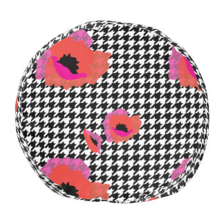 Houndstooth with Occasional Poppies Pouf