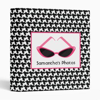 Houndstooth With Retro Pink Sunglasses Vinyl Binder