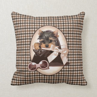 Houndstooth Yorkie Puppy Throw Pillow