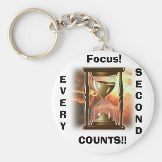 Hourglass, Focus!, EVERY, SECOND, COUNTS!! Basic Round Button Keychain