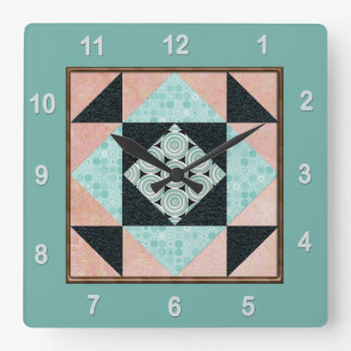 Hourglass Patch Quilt Block Turquoise & Peach Square Wall Clock