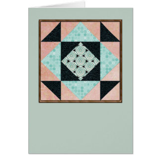 Hourglass Quilt Square in Turquoise & Peach Card
