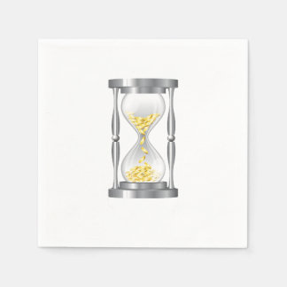 Hourglass With Money Paper Napkins