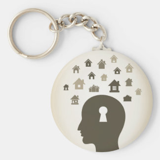 House a head basic round button keychain