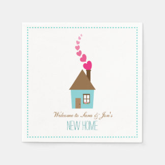 House and Hearts, Welcome to New Home Personalized Disposable Napkins