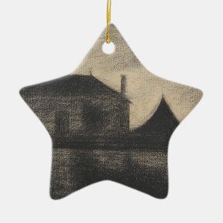 House at Dusk (La Cité) Ceramic Ornament