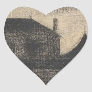 House at Dusk (La Cité) Heart Sticker