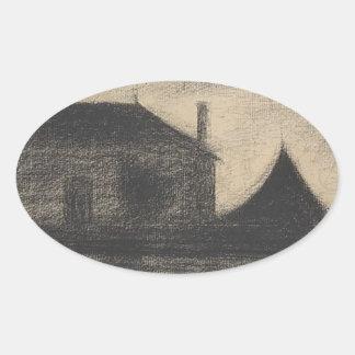 House at Dusk (La Cité) Oval Sticker
