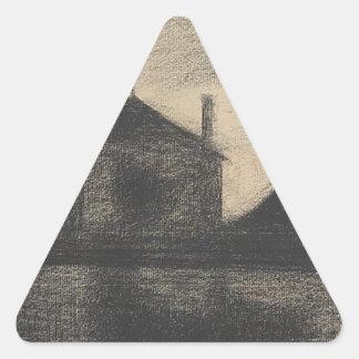 House at Dusk (La Cité) Triangle Sticker