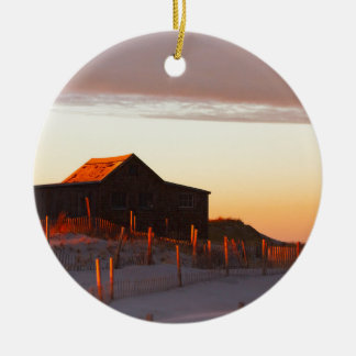 House at Sunset - 1 Ceramic Ornament