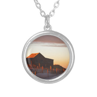 House at Sunset - 1 Silver Plated Necklace