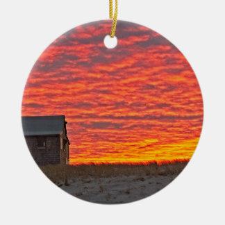 House at Sunset - 2 Ceramic Ornament