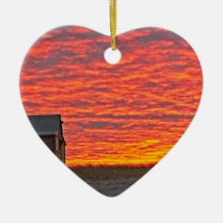 House at Sunset - 2 Ceramic Ornament