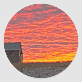 House at Sunset - 2 Classic Round Sticker