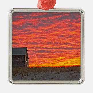 House at Sunset - 2 Metal Ornament