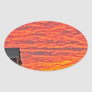House at Sunset - 2 Oval Sticker
