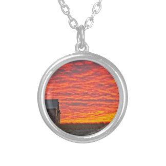 House at Sunset - 2 Silver Plated Necklace