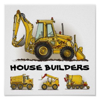 House Builders Construction Poster Print