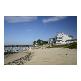 house by the coast and a beach in Connecticut Poster