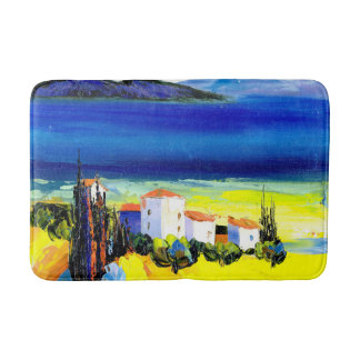 house by the sea colorful oil painting travel fun bath mat