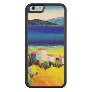 house by the sea colorful oil painting travel fun carved® maple iPhone 6 bumper
